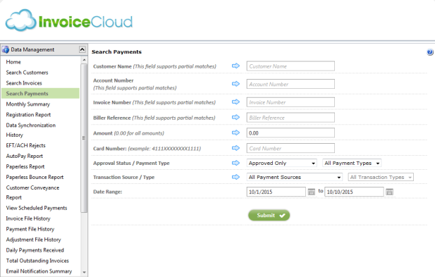 Supporting Reports From Invoice Cloud - Invoice cloud